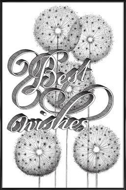 Best wishes hand-lettering -Bild mit Kunststoffrahmen
