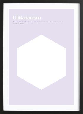 Utilitarianism affiche sous cadre en bois