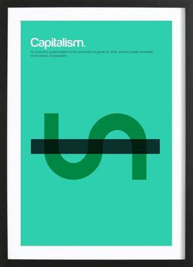 Capitalism affiche sous cadre en bois