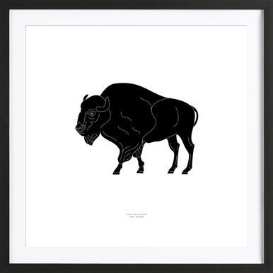 Skedehornede Black affiche sous cadre en bois