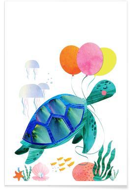 Retro Turtle Poster