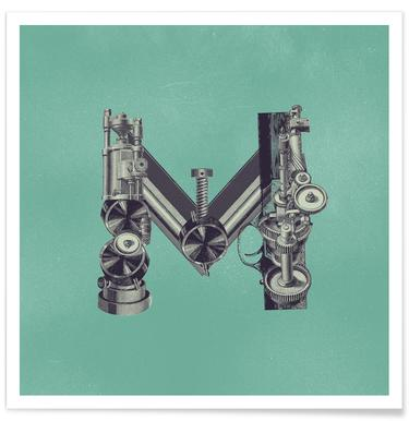 Steampunk Alphabet Letter M poster