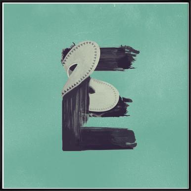 Steampunk Alphabet Letter E -Bild mit Kunststoffrahmen