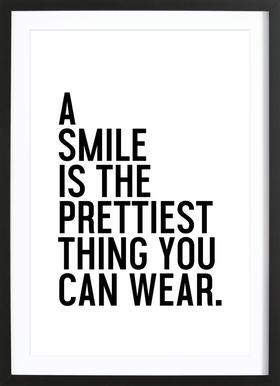 A Smile Is The Prettiest - Poster in houten lijst