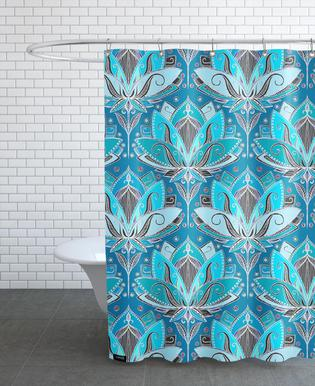 Art Deco Teal Lotus Pattern rideau de douche