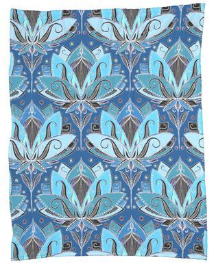 Art Deco Teal Lotus Pattern Fleece Blanket