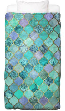 Mint Moroccan Tile Pattern Bed Linen