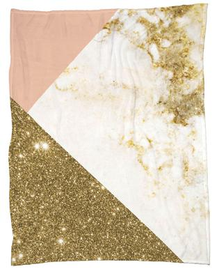 Pink and Gold Marble Collage Fleece Blanket