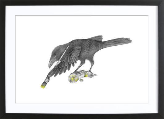 Aurora Belle Raven -Bild mit Holzrahmen