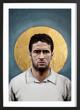 Football Icon - Raul -Bild mit Holzrahmen