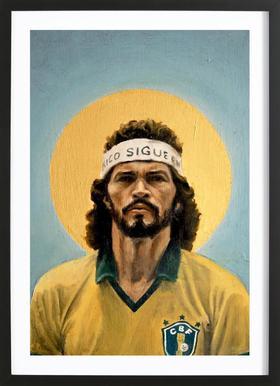 Football Icon - Sócrates -Bild mit Holzrahmen