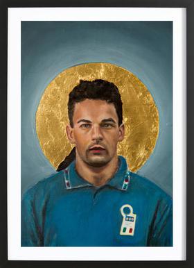 Football Icon - Roberto Baggio -Bild mit Holzrahmen