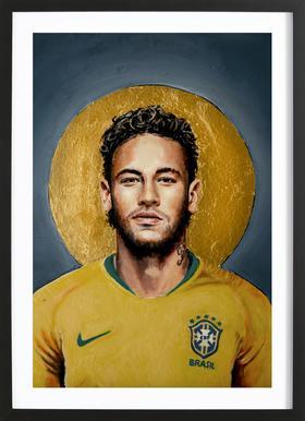 Football Icon -Neymar -Bild mit Holzrahmen