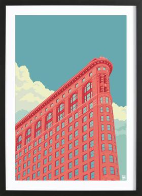 Flatiron Building New York City - Poster in houten lijst