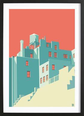 The Village New York City -Bild mit Holzrahmen