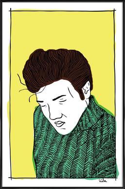 Elvis Yellow -Bild mit Kunststoffrahmen