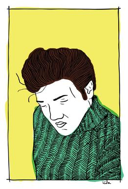 Elvis Yellow tableau en verre