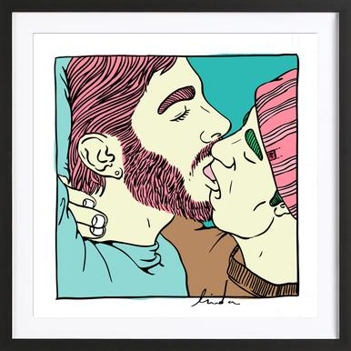 Men Kiss 1 Framed Print