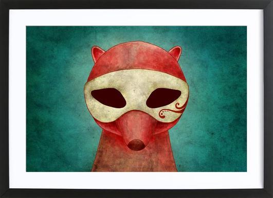 Death As A Fox In A Mask -Bild mit Holzrahmen