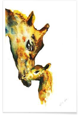 Giraffen-Aquarell -Poster
