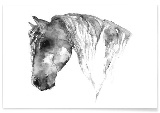 Grijs paard - aquarel poster