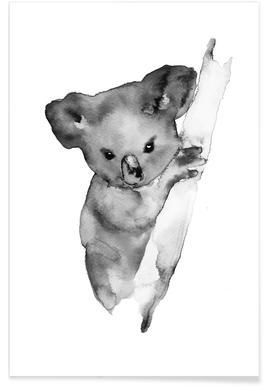 Grey Koala Watercolour Poster