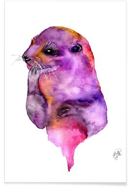 Otter Watercolour Poster