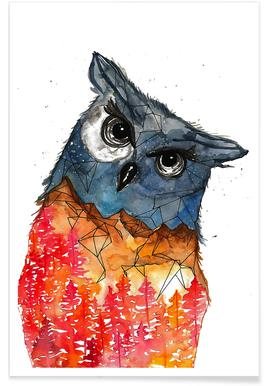 Owl Watercolour Poster