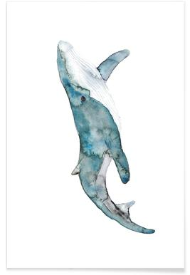 Whale Watercolour Poster