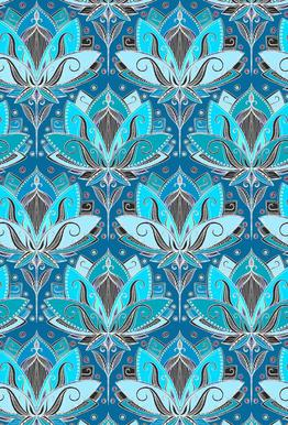 Art Deco Teal Lotus Pattern acrylglas print