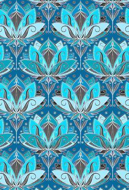 Art Deco Teal Lotus Pattern alu dibond