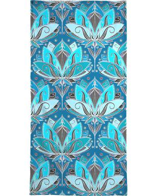 Art Deco Teal Lotus Pattern handdoek