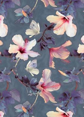 Butterflies & Hibiscus Flowers -Leinwandbild