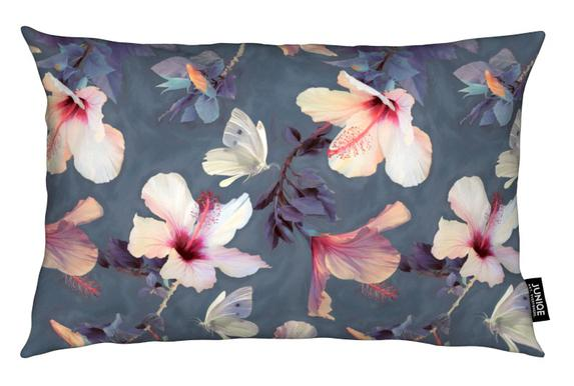 Butterflies & Hibiscus Flowers coussin