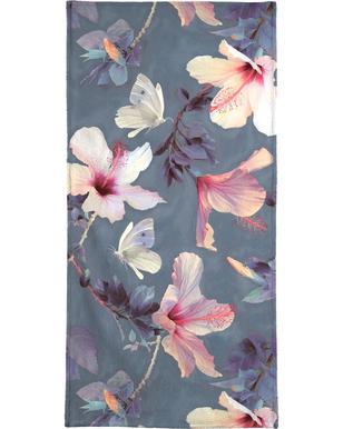 Butterflies & Hibiscus Flowers Bath Towel