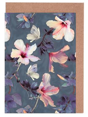 Butterflies & Hibiscus Flowers Greeting Card Set