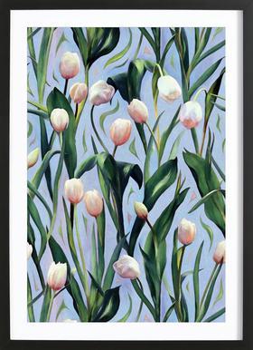 Waiting On The Blooming – Tulip Pattern -Bild mit Holzrahmen