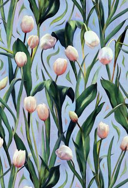 Waiting On The Blooming – Tulip Pattern Aluminium Print