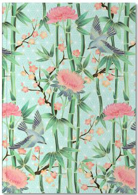 Bamboo Birds and Blossom Mint Notebook