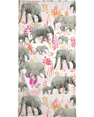 Sweet Elephants in Pink Orange Beach Towel