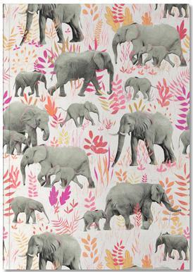 Sweet Elephants in Pink Orange Notebook