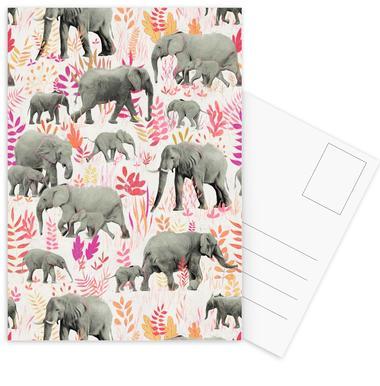 Sweet Elephants in Pink Orange Postcard Set