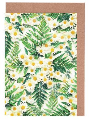 Textured Vintage Daisy And Fern Greeting Card Set
