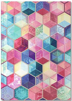 Topaz And Rubey Crystal Honeycomb Cubes Notebook
