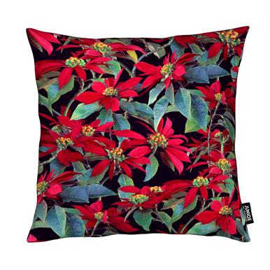 Painted Christmas Poinsettias coussin