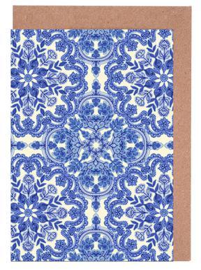 Blue & White Folk Art Pattern Greeting Card Set