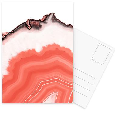 Living Coral Agate Postcard Set