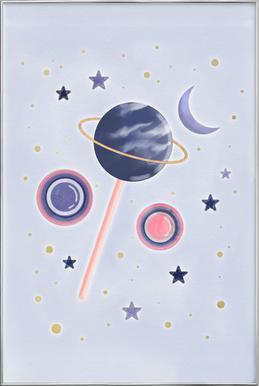 Lollipop Planet Poster in Aluminium Frame