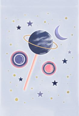 Lollipop Planet Aluminium Print