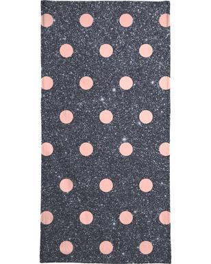 Pink Polka Dots on Shiny Background Bath Towel